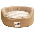 Round Dog Bed Med Beige/Stripe 55cm