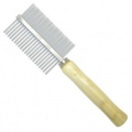 Comb Metal Double Sided w/Wooden Handle 5x18cm