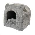 Bed Cat Pet Bedding Teddy Bear Grey Rwood sos
