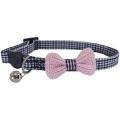 Collar Cat Pink Bow Dogtooth 11.5x11x3cm Rosewood