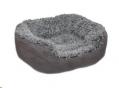 Bed Grey Lion Faux Suede Oval Med 65cm Rwood